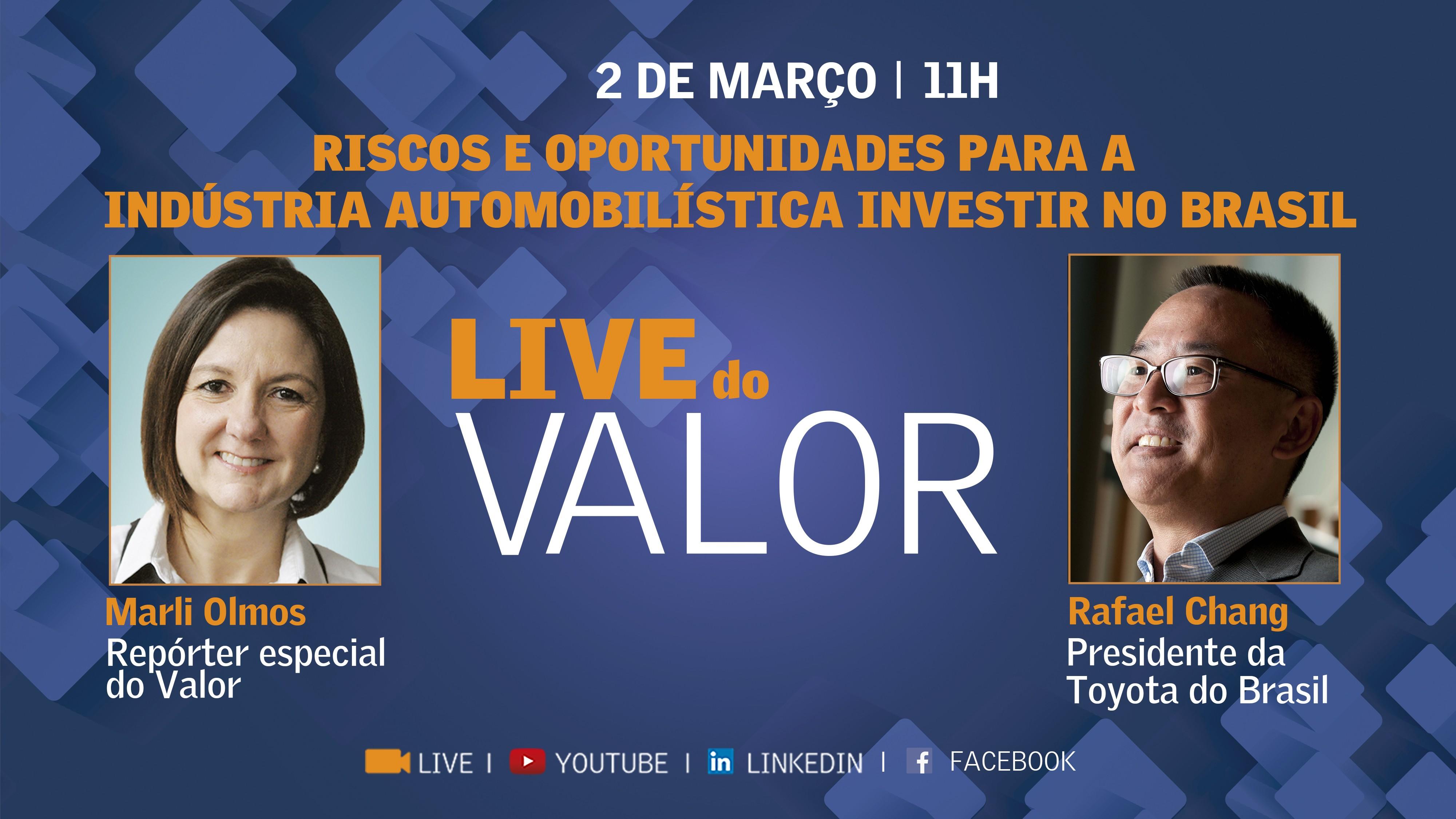 Live do Valor: Rafael Chang, da Toyota, fala sobre os riscos e oportunidades para a indústria automobilística investir no Brasil nesta terça, às 11h
